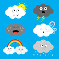 Cloud emoji icon set. Sun, rainbow, rain drop, wind, thunderbolt, storm lightning. White gray color. Fluffy clouds. Cute cartoon c