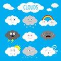Cloud emoji icon set. White gray color. Fluffy clouds. Sun, rainbow, rain drop, wind, thunderbolt, storm lightning. Cute cartoon c