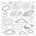 Cloud hand drawn Clouds icons set. Childrens sky and weather symbols, Night sky, moon, rain and cartoon clouds. Vector