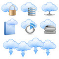 Cloud Hosting Icons Stock Photography