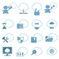 Cloud hosting icons set vector illustration Stock Images