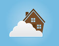 Cloud house in the sky behind a large Stock Photos
