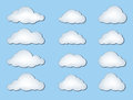 Cloud icon set clouds isolated on blue background vector of weather symbols Royalty Free Stock Photo