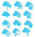 Cloud icon set web vector illustration of with flag and internet symbols Stock Photo