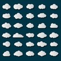 Cloud icon set white color on transparent background. Sky flat collection for web. Vector illustration