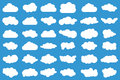 Cloud icons on blue background. 36 different clouds. Cloudscape. clouds.
