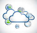 Cloud and icons illustration design over a white background Royalty Free Stock Images
