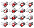 Cloud Icons Red  - SET 2 Stock Image