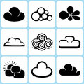Cloud icons set illustration Royalty Free Stock Image