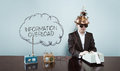 Cloud information overload text with vintage businessman at office Royalty Free Stock Photo