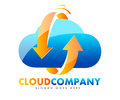 Cloud logo an illustration of a representing a company in blue and orange colors Royalty Free Stock Photo