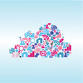 Cloud media abstract social on light blue background Stock Images