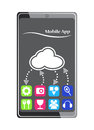 Cloud mobile device app concept illustration of sharing and storage Stock Photos
