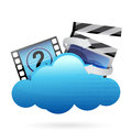 Cloud with movie frame illustration design over white Stock Image