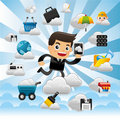 Cloud network,with business man hold pad. Royalty Free Stock Photos