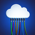 Cloud network and connection cables on blue background Stock Images
