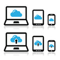 Cloud network on laptop tablet smartphone icons set modern devices connected to white Stock Photography
