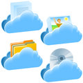 Cloud open document communication set of icons on the theme technology eps Stock Photos