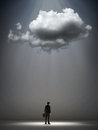 Cloud over a businessman straggle and opportunity concept Stock Photography