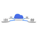 Cloud people stand around a symbol Stock Images