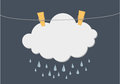 Cloud with Rain drop hang on a rope with clothespins. Vector. Fr