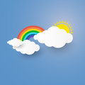 Cloud and Rainbow in the Blue sky with paper art stlye. i