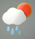 Cloud with raindrops and sun on grey background d illustration Royalty Free Stock Photography