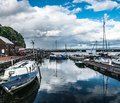 Cloud Reflections in Avoch Harbor, Avoch, Scotland Royalty Free Stock Photo