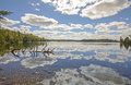 Cloud Reflections on a Calm Lake on a Sunny Fall Day Royalty Free Stock Photo