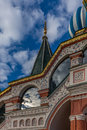Cloud reflections on the St. Basil cathedral in the red square i Royalty Free Stock Photo