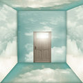 Cloud room walls covered with and the door in the background Stock Image