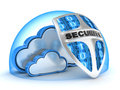 Cloud security blue done in d Royalty Free Stock Image