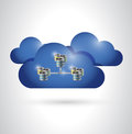 Cloud and servers illustration design over a white background Royalty Free Stock Photography