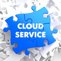 Cloud service on blue puzzle white background Stock Photography