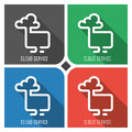 Cloud service flat vector icon on colorful background. simple PC web icons eps8.