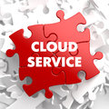Cloud service on red puzzle white background Stock Image