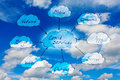 Cloud services background cloudy sky concept Stock Photos