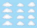Cloud set clouds isolated on blue background vector of weather symbols Royalty Free Stock Images