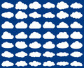 Cloud shape. Vector set of clouds silhouettes isolated on blue Royalty Free Stock Photo