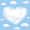 Cloud shaped heart on a sky Royalty Free Stock Images