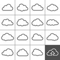 Cloud shapes collection icons for computing web and app simplus series Royalty Free Stock Photo