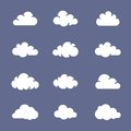 Cloud shapes collection shape icon white clouds on blue background simplus series Royalty Free Stock Image