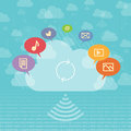 Cloud sharing concept vector illustration of with media and storage symbols Stock Photos