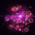 Cloud of shining magenta circle lights Royalty Free Stock Photo