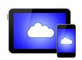 Cloud on smartphone and tablet pc Stock Images