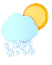 Cloud with snowflakes and sun isolated on white background d illustration Stock Photos