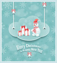 Cloud with snowman gifts bells christmas and new year post card Royalty Free Stock Image