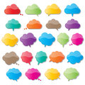 Cloud speech bubbles colorful paper shape Stock Photos
