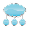 cloud storage connected with set circular figures Royalty Free Stock Photo