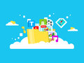 Cloud storage, folder with files of different Royalty Free Stock Photo